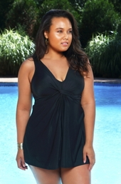 Plus Size Swimwear Miraclesuit Marias Twist Front Swimdress