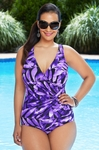 Women's Plus Size Swimwear - Miraclesuit Oceanus Purple Reign 1 Pc Swimsuit