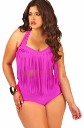 Plus Size Swimwear Monif C Separates Fringe Underwire Bikini Top #704A - Fuchsia $34