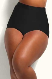 Plus Size Swimwear Monif C Separates Sao Paulo Hi Waist Bikini Bottoms - Black $38
