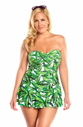 Palm Party Twist Front Bandeau Plus Size Swim Dress