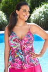 Women's Plus Size Swimwear - Simply Sole' Separates Bermuda Paisley Underwire Tankini Top
