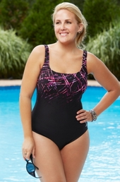 Plus Size Swimwear TYR Streamers Aqua Controlfit 1 Piece - Black - ON SALE $60