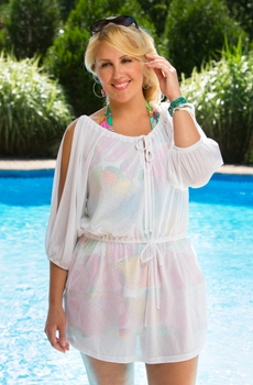 Women's Plus Size Coverups- Always For Me Cover Drawstring Waist Tunic