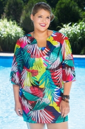 Plus Size Cover Ups Anne Cole Jungle Palm Mesh Tunic