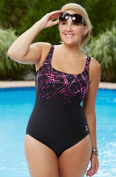 Plus Size Swimwear - TYR Streamers Aqua Controlfit Swimsuit