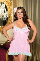 Plus Size Lingerie Polka Dot Chiffon Underwire Baby Doll - NO RETURNS