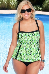 Women's Plus Size Swimwear - Always For Me In Control - Scroll 2 pc swim
