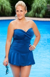 Women's Plus Size Swimwear - Always For Me Chic Solids Shimmer Twist Swimsuit