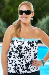 Women's Plus Size Swimwear - Beach House Separates Cocoa Beach Floral Blouson Tankini Top #81062 - White/Cloud - ON SALE $51.75