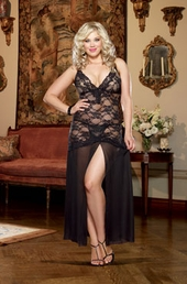 Plus Size Lingerie Stretch Lace and Chiffon Gown Style #8489X - Black $49