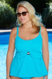 Women's Plus Size Swimwear - Coco Reef Separates Peasant Tankini Top w/ Underwire #4026 - Turq ON SALE $41
