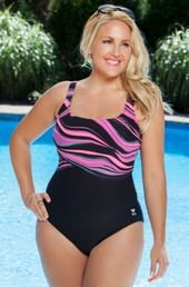 Plus Size Swimwear TYR Fantasia Aqua Controfit 1Pc #TAQF7A - Black $80