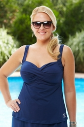 Plus Size Swimwear TYR Separates Twisted Bra Tankini Top #TSTB7A - Navy $47
