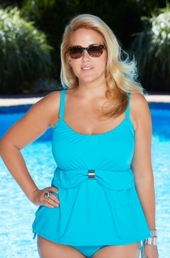 Women's Plus Size Swimwear - Coco Reef Separates Peasant Underwire Tankini Top