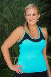 Women's Plus Size Activewear - Always For Me Active Micro Poly Color Block Racer Tank #A7953 - Turq/Black  $59