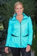 Women's Plus Size Activewear - Always For Me Active Micro Poly - Mesh Jacket #A7971 - Turq/Black $89
