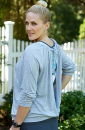 Women's Plus Size Activewear - Always For Me Active Open Back Yoga Top #8213 - Heather Gray ON SALE $15