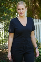 Women's Plus Size Activewear - Always For Me Active Ruched Tee Shirt #7529 - Black ON SALE $29.25