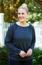 Always For Me Active Open Back Plus Size Yoga Top #8213 - Charcoal ON SALE $10