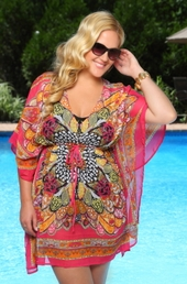 Women's Plus Size Cover Ups - Always For Me Cover Butterfly Caftan - NO RETURNS