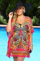 Women's Plus Size Cover Ups - Always For Me Cover Caftan #1223X - Fuchsia Multi $39