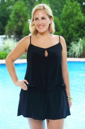 Women's Plus Size Cover Ups - Always For Me Cover Keyhole Drop Waist Dress #1402 - Black $39