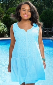 Women's Plus Size Cover Ups - Always For Me Cover Daisy Embroidered Dress - Aqua ON SALE $44.25