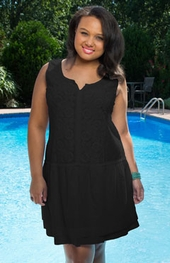 Women's Plus Size Cover Ups - Always For Me Cover Daisy Embroidered Dress - Black ON SALE $44.25