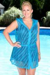 Women's Plus Size Cover Ups - Always For Me Cover Diagonal Mesh Coverup