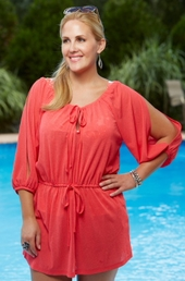 Women's Plus Size Cover Ups - Always For Me Cover Drawstring Waist Tunic #1161X - Coral ON SALE $19.50