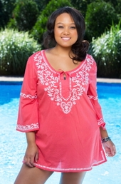 Women's Plus Size Cover Ups - Always For Me Cover Embroidered Tunic