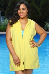 Women's Plus Size Cover Ups - Always For Me Cover Hooded Zip Front Terry Cover Up #9065X - YELLOW $19.50