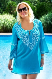 Women's Plus Size Cover Ups - Always For Me Cover Embroidered Tunic #4434 - Turq