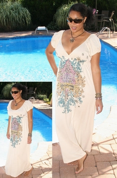 Plus Size Cover Ups - Always For Me Cover Long Mosaic Dress - NO RETURNS