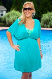 Women's Plus Size Cover Ups - Always For Me Cover Silky V Neck Tunic #107X - Jade $24.50