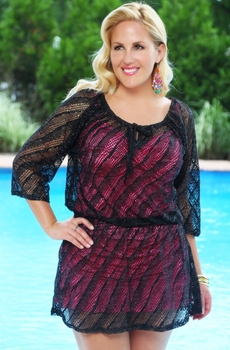 Women's Plus Size Cover Ups - Always For Me Cover Mesh Peasant Cover - NO RETURNS
