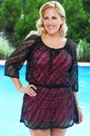Women's Plus Size Cover Ups - Always For Me Cover Mesh Peasant Cover