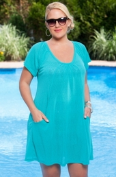 Plus Size Cover Ups - Always For Me Cover Onion Skin Pocket Tunic