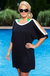 Women's Plus Size Cover Ups - Always For Me Cover Open Sleeve Tunic #6013X - Black/White $42