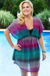 Women's Plus Size Cover Ups - Always For Me Cover Ribbons V Neck Tunic # 4005