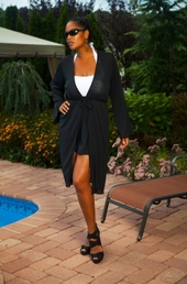 Women's Plus Size Cover Ups - Always For Me Cover Ruffle Tie Cover Up #7002 - Black $31.50