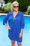 Women's Plus Size Cover Ups - Always For Me Cover Shirred Sleeve Shirt