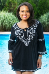Women's Plus Size Cover Ups - Always For Me Cover Embroidered Tunic #4434 - Black  - $24