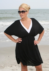 Women's Plus Size Cover Ups - Always For Me Cover Silky V Neck Tunic #107X - Black $36.75