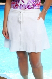 Women's Plus Size Cover Ups - Always For Me Cover Terry Ruffle Skirt Cover Up #4001 White $39