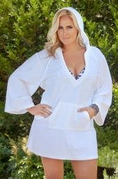Women's Plus Size Cover Ups - Always For Me Cover Terry Hooded Tunic