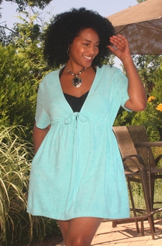 Women's  Plus Size Cover Ups - Always For Me Cover V Neck Tie Front Terry Cover Up