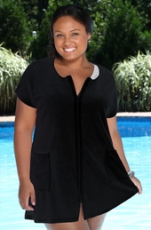 Women's Plus Size Cover Ups - Always For Me Cover Zip Front Tunic Terry Cover Up