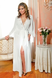 Women's Plus Size Lingerie - 3/4 Sleeve Long Chiffon Bath Robe